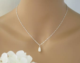 Backdrop bridal necklace-Simple pearl back necklace-Sterling silver necklace-Swarovski teardrop pearl wedding necklace-Crystal and pearl