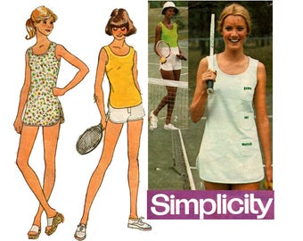 Simplicity 7334 Tennis Dress Top & Shorts Vintage Sewing Pattern Including Iron On Embroidery Transfer Size 14 Bust 36 inches