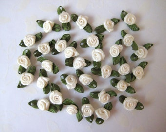 19 mm Tiny Ivory Ribbon Rose Bud with Green leaves Appliqués for Crafting, Sewing, Doll Clothes, Baby Clothes - 6/8 inch, 36 pcs