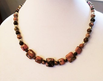 Square and Round Rhodonite Necklace Chunky Rhodonite Necklace