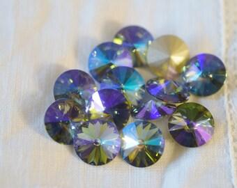 6 pieces 1122 Paradise Shine 12mm Swarovski Crystal Rivolis