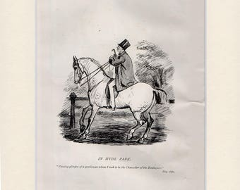 Randolph Caldicott sketch (IN HYDE PARK) 1889 bookplate mounted