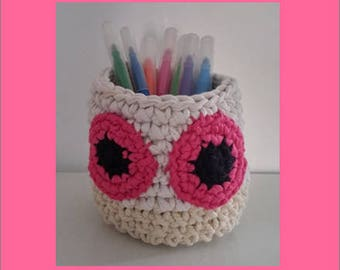 Nursery art child - office - OWL pencil holder - crochet