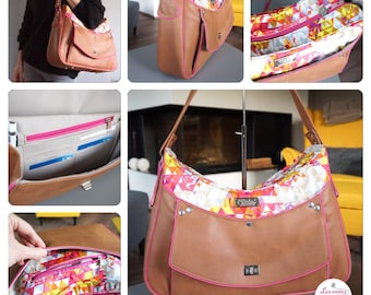 Bag with wallet embedded faux camel / multicolored cotton