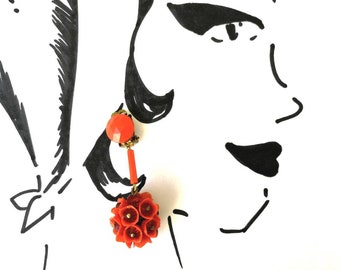 Vintage Orange Flower Dangle Clip-On Cluster Earrings