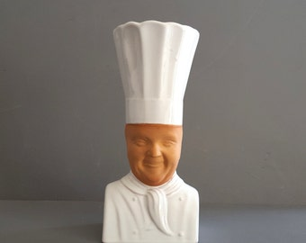 Pottery utensil spoon jar. French cook in white uniform and toque ! Kitchen decor