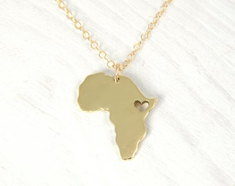 18kt Gold  Plated Africa Necklace Golden Heart Africa Ethiopia Pendant  Adoption Necklace in a kraft gift box with an Extra Free Gift.