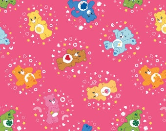 Camelot The Care Bears Fabric:  Care Bears Characters Belly Badge Hot Pink 100% cotton fabric by the yard (CA629)