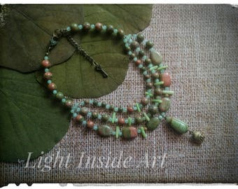 Green Coral Unakite Onyx Ethnic Boho Necklace Bronze Tibetan Buddha Head Pendant READY TO SHIP