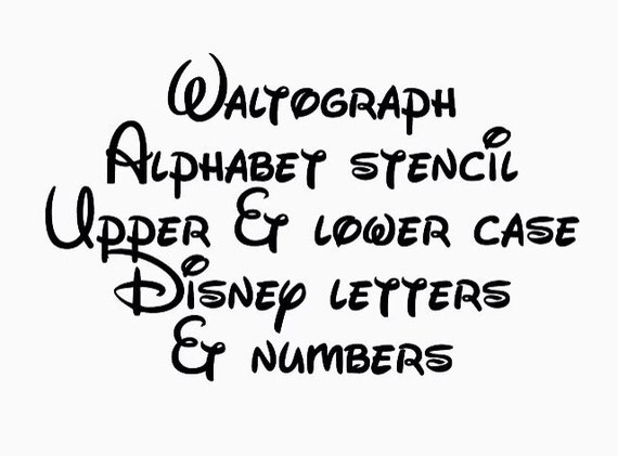 Disney Waltograph Stencil Font Full Alphabet Upper And