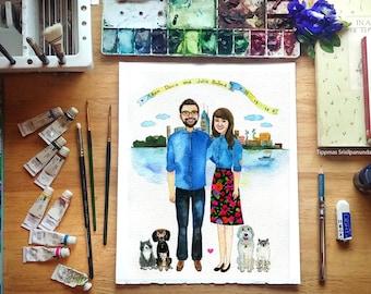 Custom portrait with the city, SAVE THE DATE Custom Portrait, Couple Portrait , Painting Drawing, Illustration Prints Pet Portraits