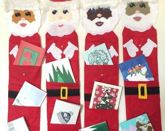 Santa suspendus titulaire de carte de Noël vacances porte-carte