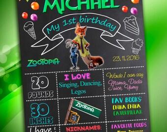 Zootopia Chalkboard , First Birthday Chalkboard Poster, Zootopia Birthday Chalkboard Poster, Birthday Poster, Zootopia Party