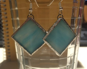 Assorted Colors-Medium Stained Glass Earrings- Blue, Green, Red