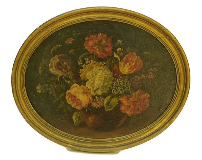 French Rose Flower Painting. Framed Original Floral Art Still Life. Antique Oil Painting in Gold Frame. Wall Art.