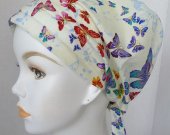 Rainbow of Butterflies Hair Loss Cancer Hat Cap Head Wrap Alopecia Bad Hair Day