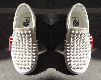 White Checkered Vans with White Spikes
