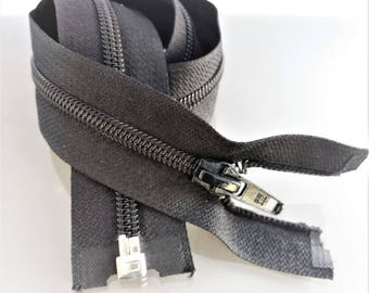 Spiral zipper black 60 cm separable