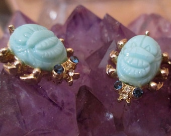 Scarab Brooch, Matched Pair, Aqua Glass Beetles in Gold Costume Setting, Scatter Pins, Brooches