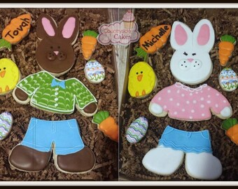 Segmented Bunny Boy or Girl bunny personalized Easter decorated sugar cookie gift box set