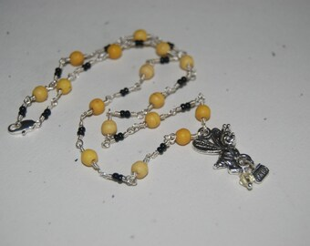 Artistic Wire Wrapped Yellow Black Busy Bee Little Girl  Necklace