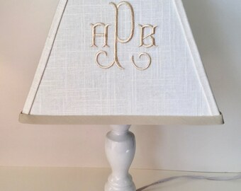 Monogram lamp shade etsy more colors arabesque monogrammed square lamp shade mozeypictures Images