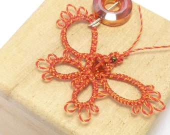 Tatting Lace Butterfly Pendant with Swarovski crystals - Sara in orange and yellow small pendant insect and bug lover gift handmade lace