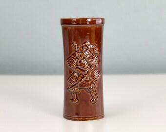 Brown Glazed Samurai Mug Made in Japan, Vintage Tiki Mug, Collectible Tiki Cup, Tiki Bar Decor, Mint Condition, Guy Gift, Man Cave, Tiki Bar