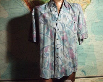Classic Vintage Mens 1980s / 80s Slouchy Grey Muted Pastel Swirly All Over Graphic Print Playboy Chic Cool Button Down Shortleeve Silk Shirt