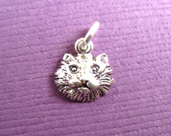 Sterling Silver Petite Cat FaceCharm