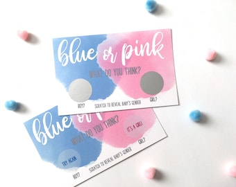 10 Gender Reveal Party Scratch Off Card - Baby Shower Game - Gender Reveal - He or She - Blue or Pink Scratch Offs - Set of 10