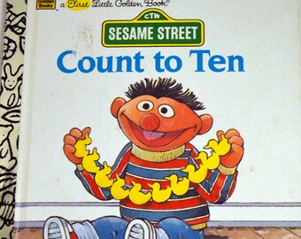 Sesame Street Count to Ten Vintage Children's Book  First  Little Golden Book