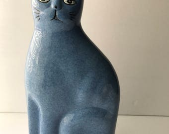 Blue Calico Ceramic Cat