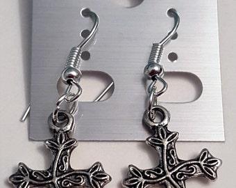 Tibetan Silver Tree Cross Earrings