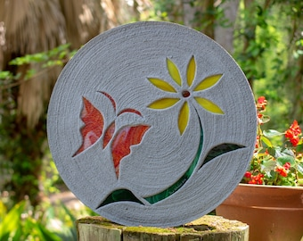 Red Butterfly With Yellow Daisy Stepping Stone #829