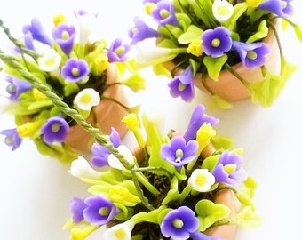 Miniature Polymer Clay Flowers Supplies Hanging Pot for Dollhouse 1 pcs