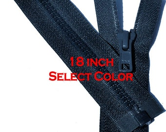 One 18 inch Vislon Jacket Zipper YKK 5 Molded Plastic Medium Weight  Separating Bottom - Select  Color