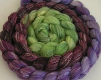 Rove Roving Top Fiber Targhee SILK Bamboo Wool THRU the GRAPEVINE Gradient 80 10 10 Spin Felt Nuno Craft Feature Green Blend Soft Lux 4 oz