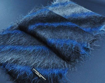 "Katharine Hamnett Scarf London Striped Pattern Hairy Style Acrylic Scarf Muffler 68"" X 11"""