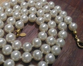 """High Quality Hand Knotted Faux Pearls 14kGE Nyland -24"""" 8 mm Necklace"""