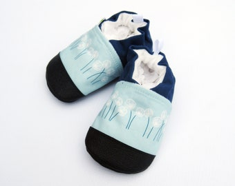 Organic Vegan Dandelion in Blue / non-slip soft sole baby shoes / made to order / babies toddlers preschool