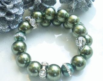 Bracelet Swarovski Iridescent Green Pearls Clear Swarovski Crystals