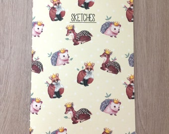 Crowned Woodland Creature Sketchbook, Notebook, Blank Notebook, Fox, Deer, Hedgehog