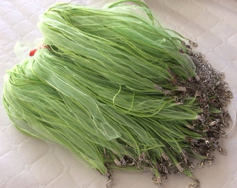 10 pcs Light Green Organza Ribbon Waxed Cotton Cord Necklace,Green organza ribbon,waxed cord necklace,green waxed cord,green organza ribbon