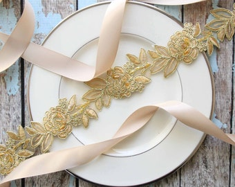 Old Gold Beaded Flower Lace Sash, Gold Flower Lace Headband, Bridal Headband, Bridesmaid Sash, Flower Girl Gold Sash / SH-77