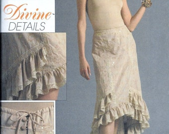 Vogue V8364 Divine Details Flared Ruffle SKIRT Sewing Pattern Size 6, 8 and 10 High Low Hi Lo Skirt UNCUT