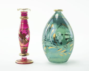 Bohemia Crystal Bud Vases - Red and Gold / Teal and Gold Pair - Floral Design Mid-Century