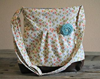 Conceal Carry Purse, Medium Messenger Bag, Aqua and Coral Arrows, Conceal Carry Handbag, Concealed Carry Purse, Conceal and Carry
