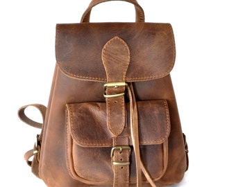 Small leather backpack / Women chestnut brown leather backpack / Small leather pouch