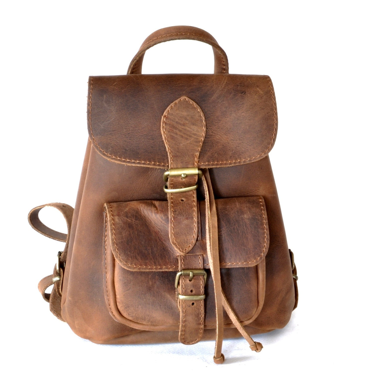 Small leather backpack / Women chestnut brown leather backpack
